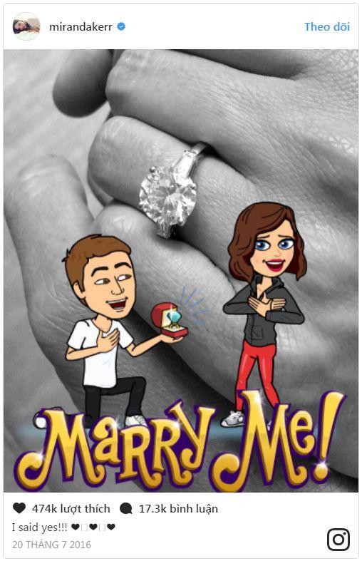Miranda Kerr khoe nhẫn đính hôn trên Instagram