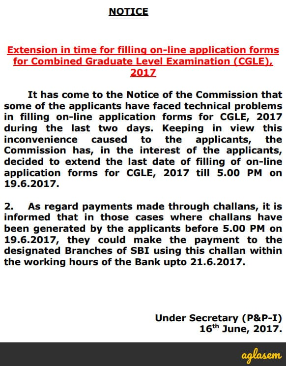 SSC CGL 2017 Application Form Date Extended – Apply Here