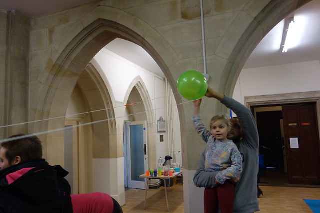 Balloon rocket activity from chapter 8 of Messy Church Does Science
