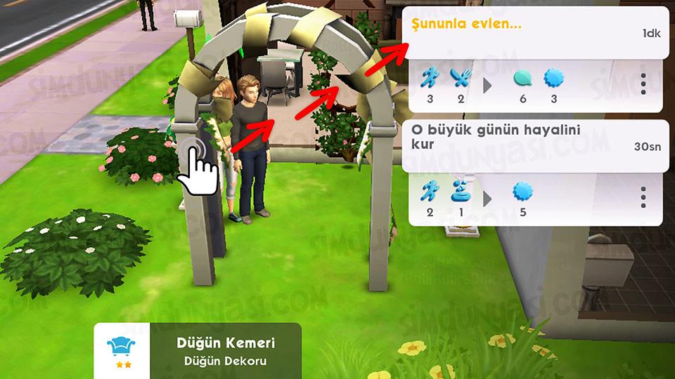 The Sims Mobile Evlenmek - Düğün Serüveni - Düğün Kemeri - Şununla Evlen