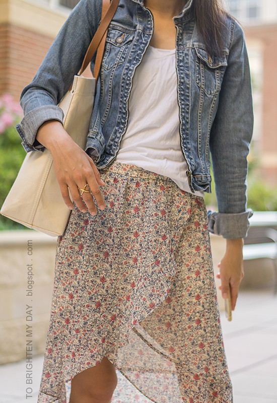 denim jacket, white tee, floral wrap skirt, canvas tote