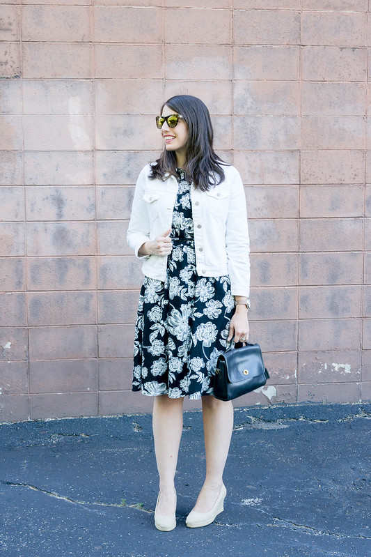 black and white floral shirt dress + white J.crew denim jacket + j.Crew espadrille wedges; casual summer look | Style On Target blog