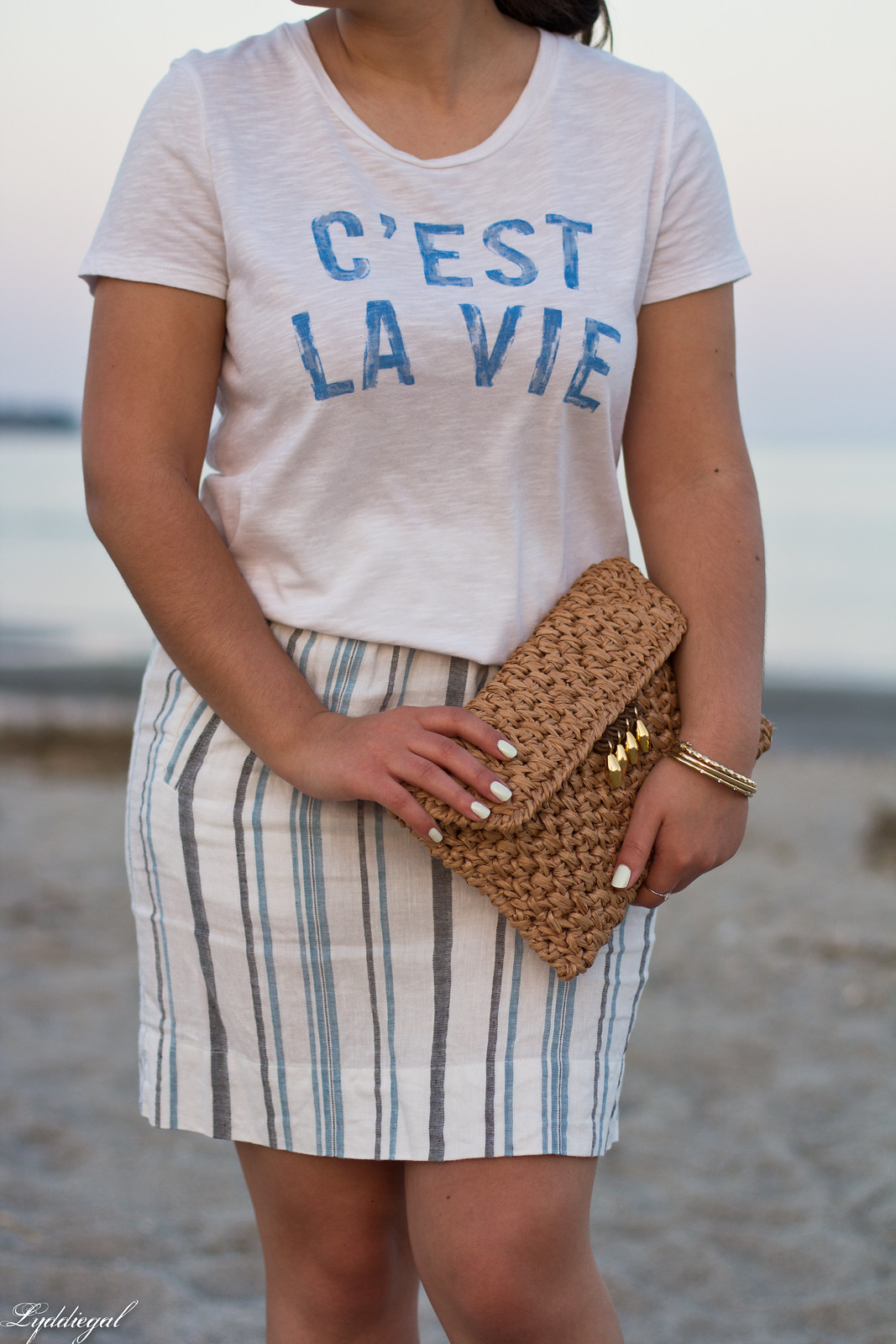 c'est la vie tee, striped linen skirt, straw fedora, clutch-5.jpg