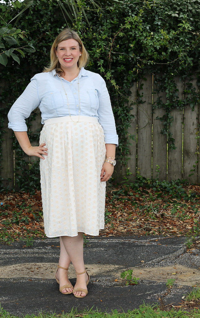 chambray shirt, cream dot midi and wedge sandals 2