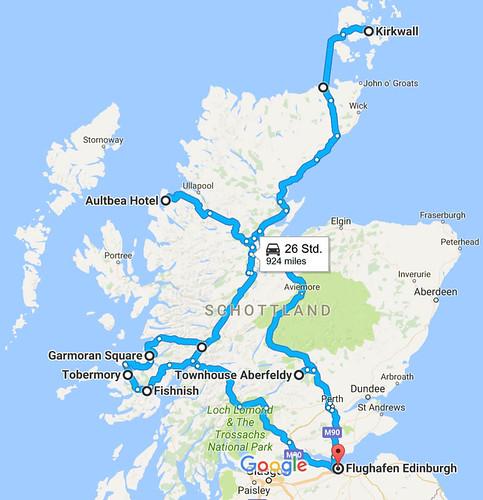 Route der Schottlandreise 2017