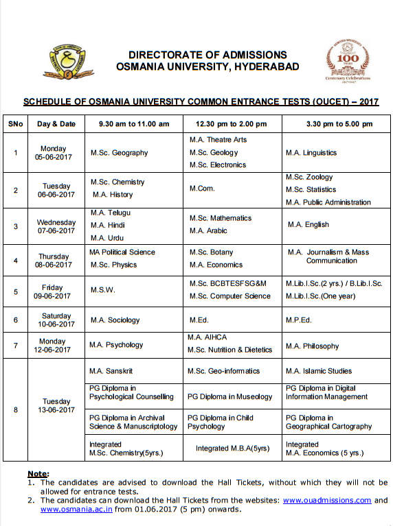 OUCET Schedule