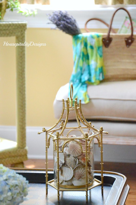 Shell filled Pagoda lantern-French Market Basket-Housepitalty Designs