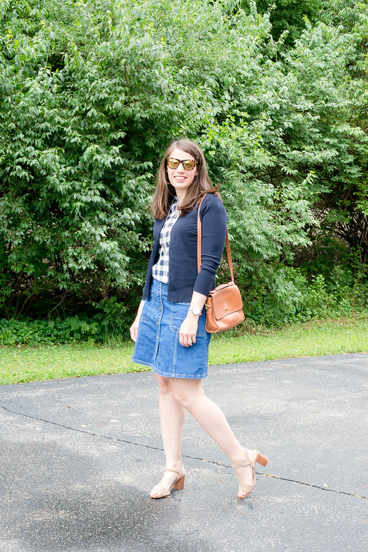 j.crew navy gingham shirt + navy Loft cardigan + boden denim skirt + sole society heeled sandals | Style On Target blog
