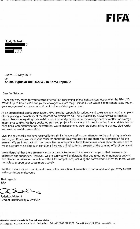 Response from FIFA 2017