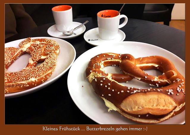 Kleines Frühstück ... Butterbrezeln gehen immer ... Foto: V&J