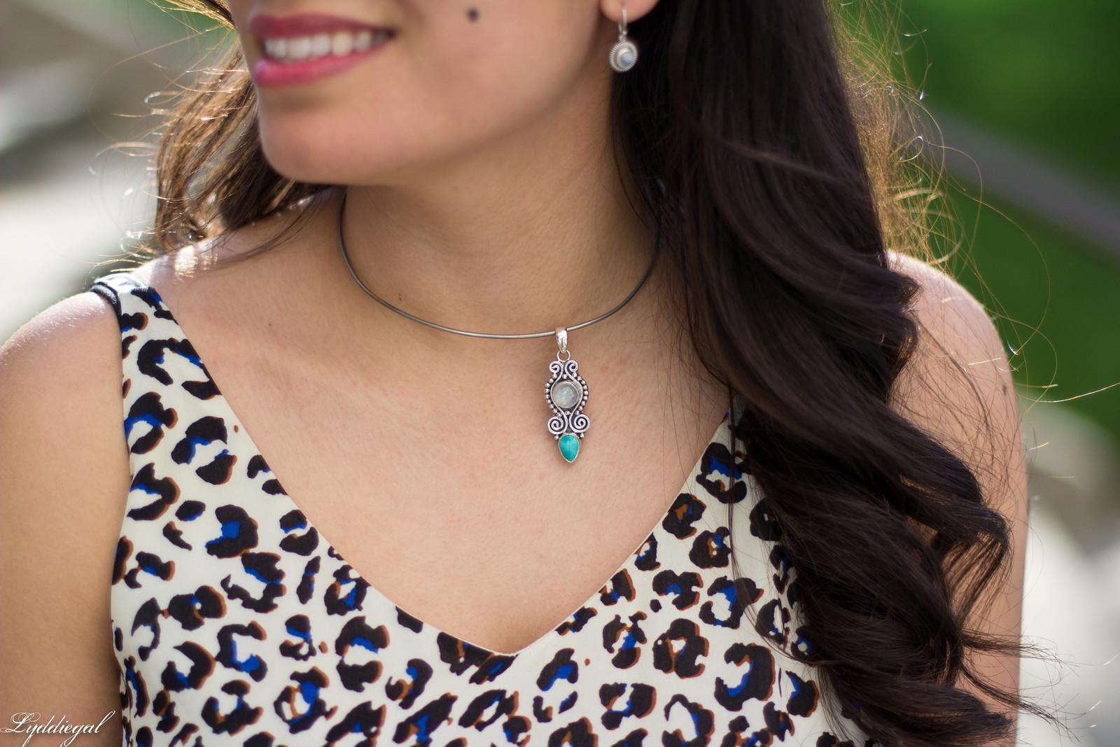 leopard print dress, denim jacket, moonstone jewelry-3.jpg