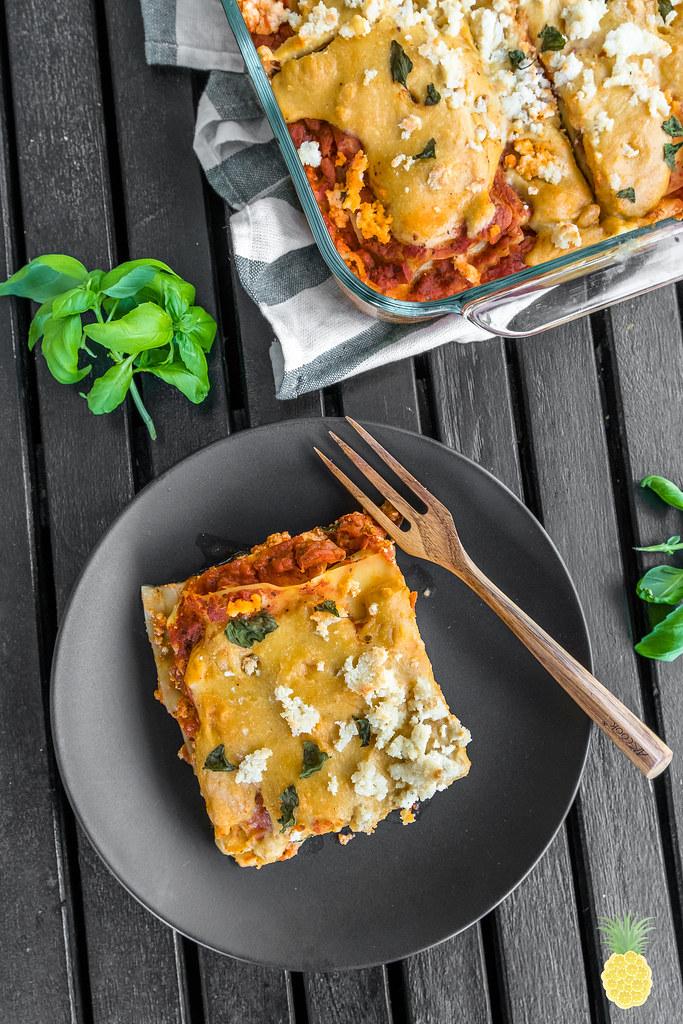 Epic Vegan Ravioli Lasagna w/ Stretchy Cashew Mozzarella {oil-free} sweetsimplevegan.com #veganitalian #epicvegan #veganfood #lasagna #veganpasta #veganmozzarella #veganravioli