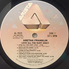 ARETHA FRANKLY:LOVE ALL THE HURT AWAY(LABEL SIDE-A)