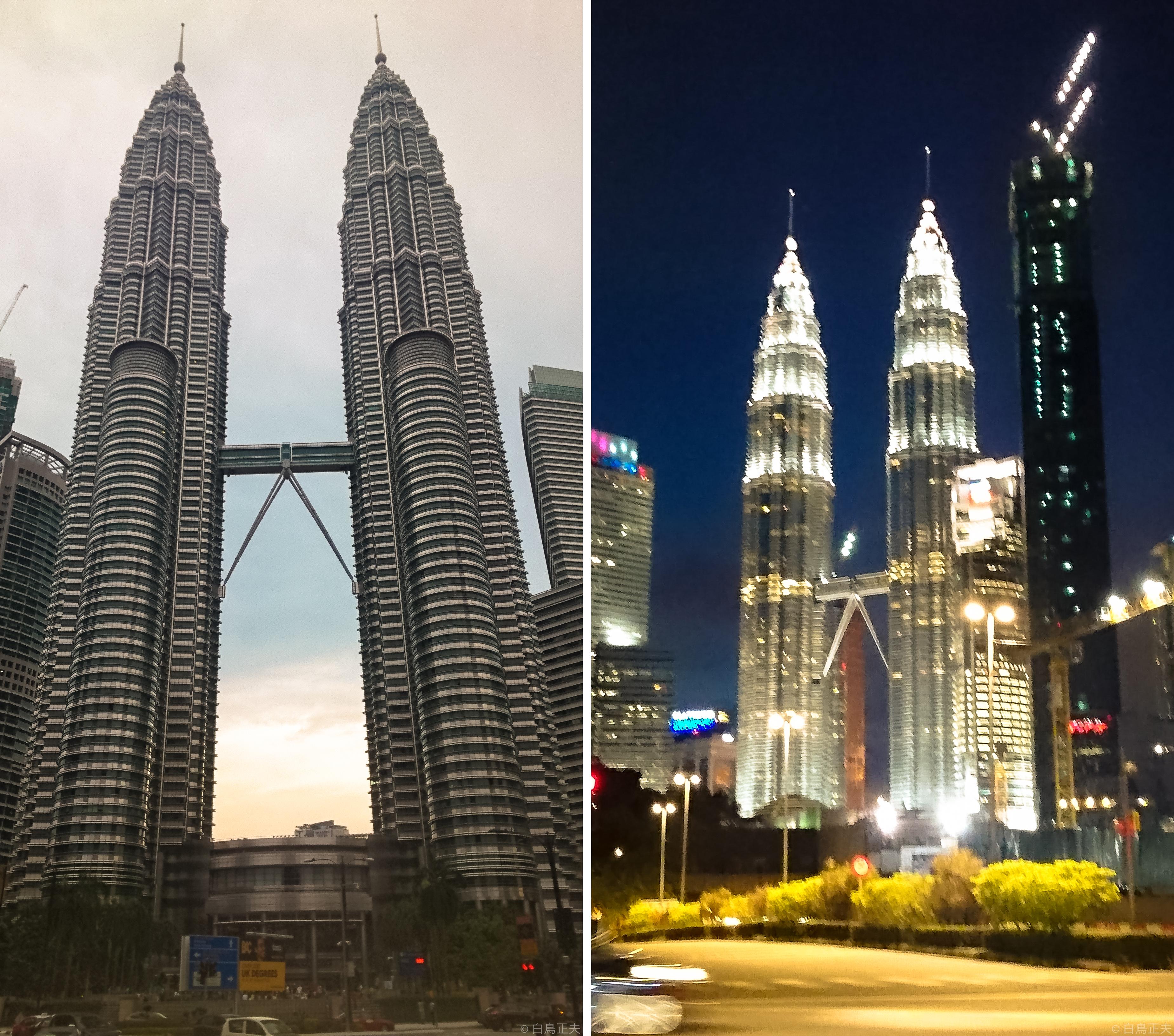 左)89階建てのペトロナス・ツインタワー  右)ツインタワーの夜景