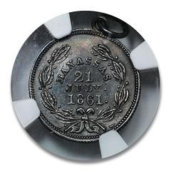 1861 Beauregard Confederate Dime reverse