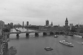 London - Parliament Building Thames bw