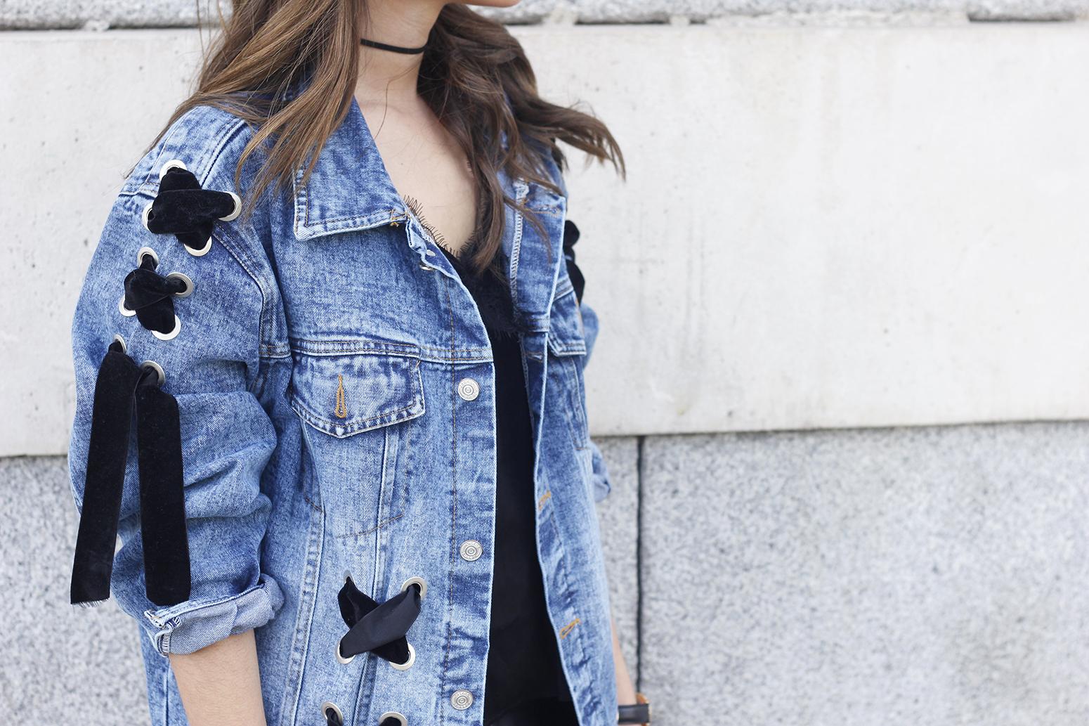 denim jacket leather skirt black heels outfit style fashion summer20