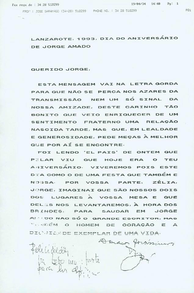Faxes de José Saramago a Jorge Amado
