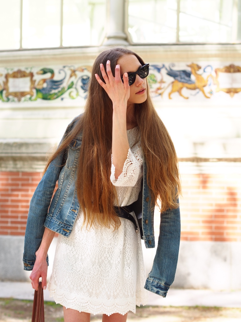 Lace dress and denim jacket summer outfit