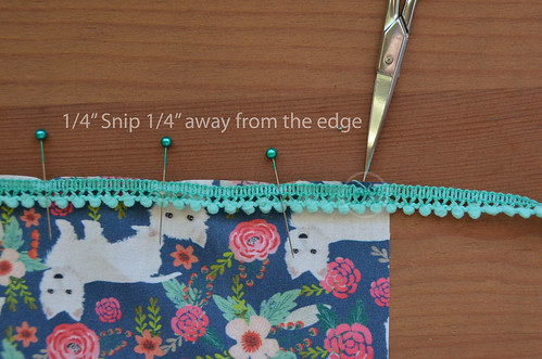 "7. When you get to a corner, make a 1/4"" snip, 1/4"" from the fabric edge"