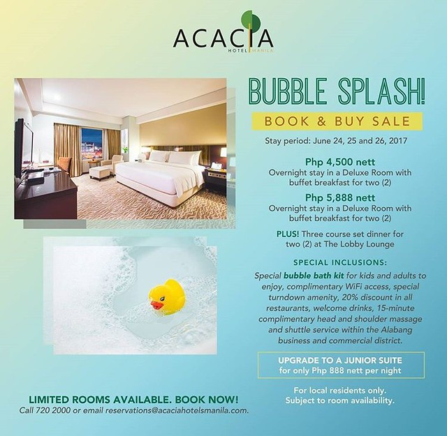 3c99c7eef4644 Acacia Hotel Alabang is having a flash sale for the upcoming long weekend.  You'll also get a special bubble bath kit for adults and kids!