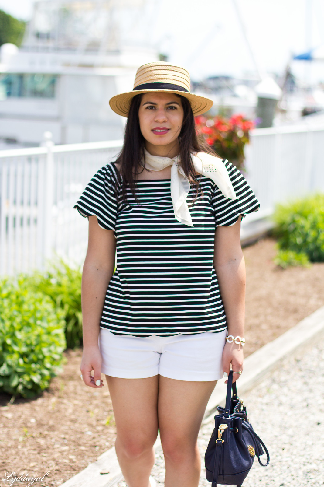 striped off the shoulder top, white shorts, straw hat-8.jpg