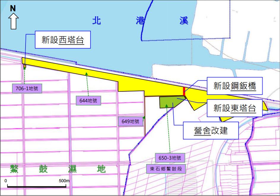 嘉義縣東石鄉空軍「水溪靶場」改建案,緊鄰鰲鼓濕地。