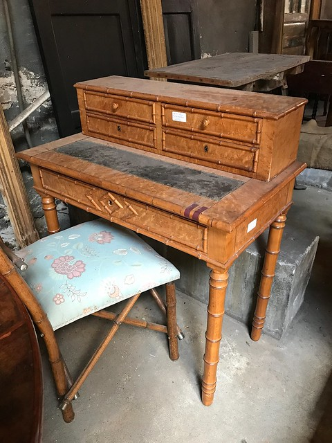 French Antique Bamboo Desk-Housepitality Designs