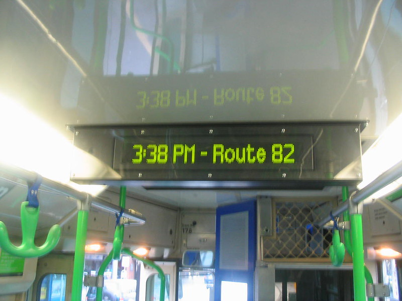 Test screens inside tram 178, June 2007