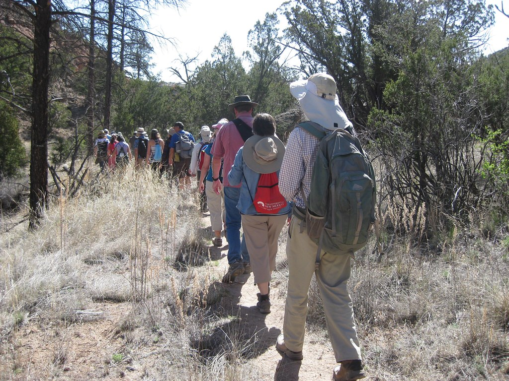 Hikers walk along the Lion Cave Trail on April 14, 2017 as part of Los Alamos National Laboratory's Earth Day Events.