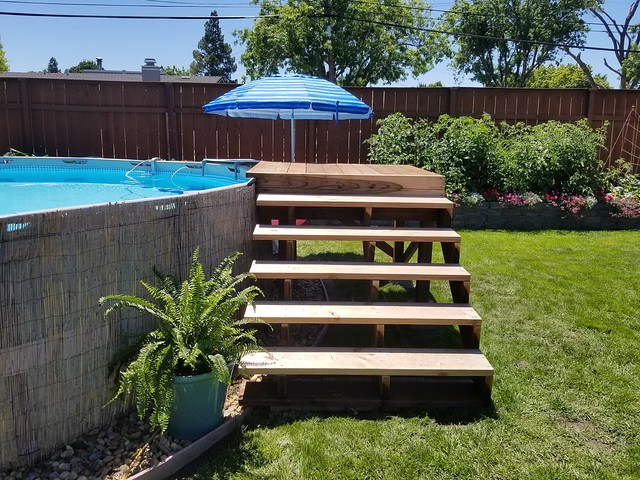 re above ground pool stairssteps build