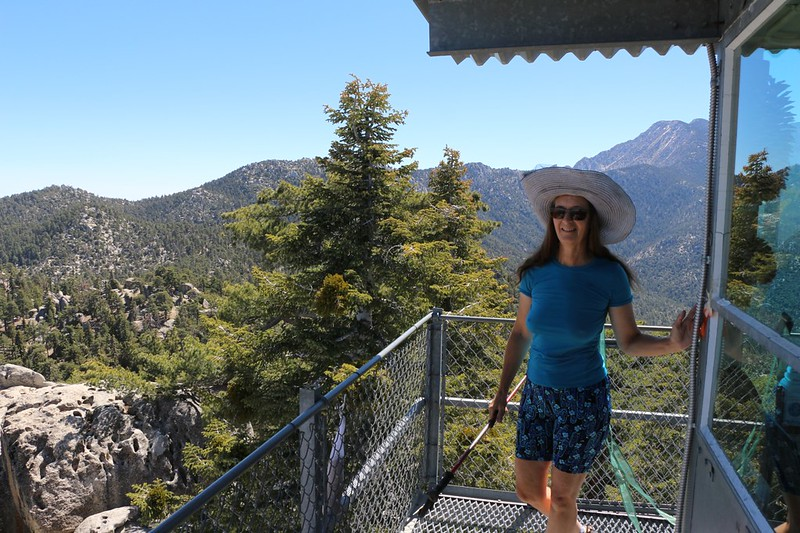 Vicki on the Black Mountain Fire Tower with Fuller Ridge in the background