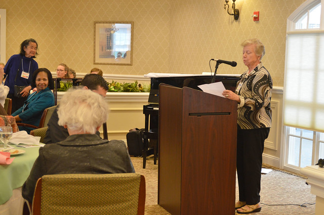 GenMtgMayLunch2017_0026; Program Committee Co-Chair Janet Reiche introduces speaker.