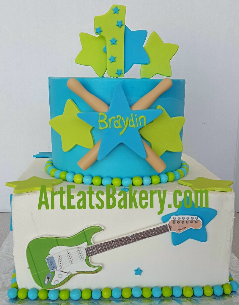 Rock And Roll Musician Themed Buttercream Birthday Cake Wi Flickr