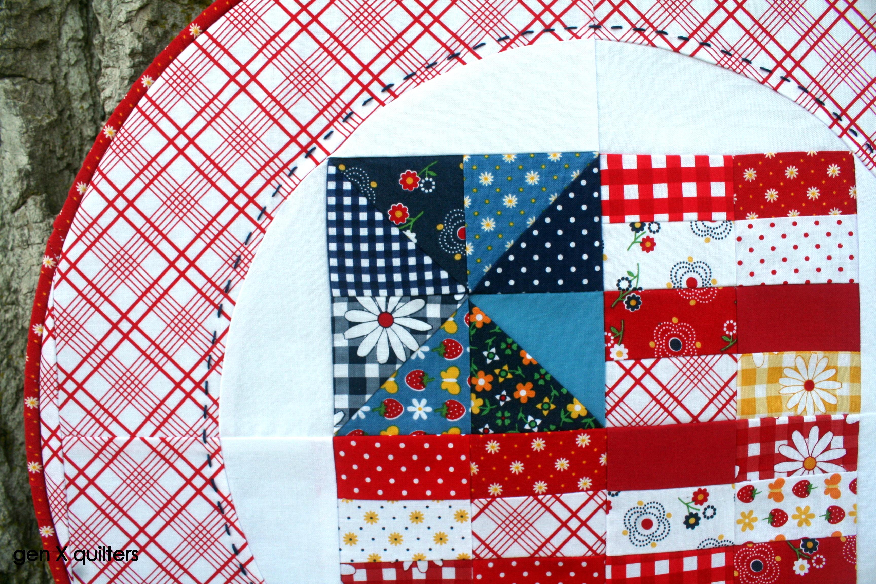 gingham girls flag hoop quilt close up