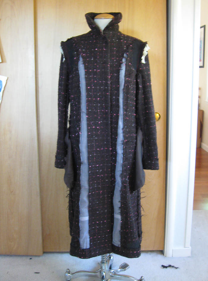 boucle coat inside without lining