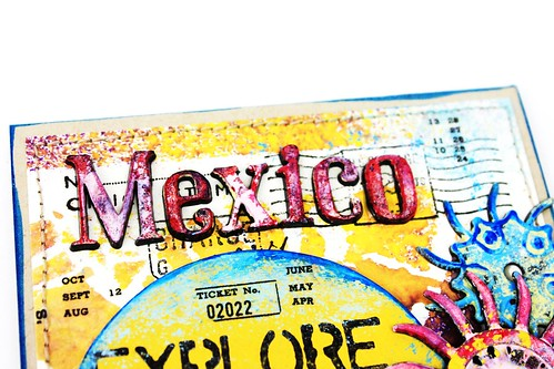 Meihsia Liu Simply Paper Crafts Mixed Media Card Vacation Mexico Simon Says Stamp Tim Holtz 3