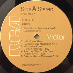 ZULEMA:R.S.V.P.(LABEL SIDE-A)