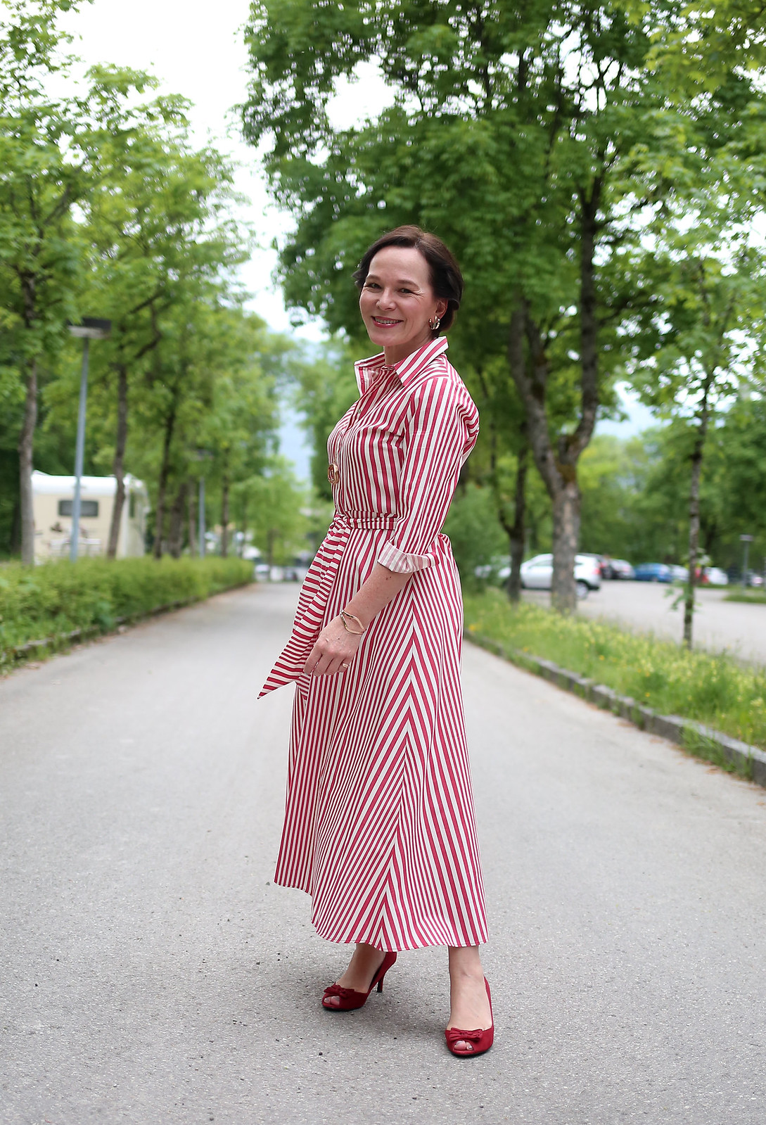 Zara Red Stripes Midi Dress LadyofStyle 1