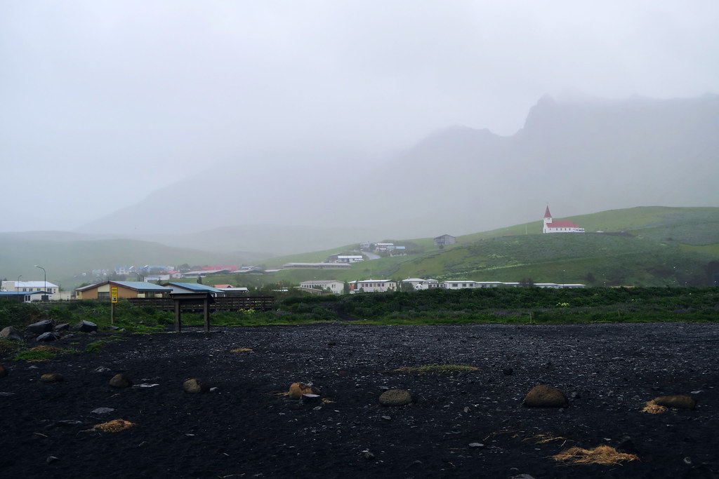 Views from the black sand beach at Vik