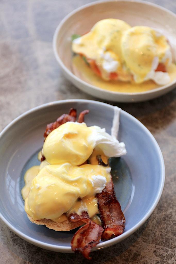 Eggs Benedict; Eggs Salmon Florentine