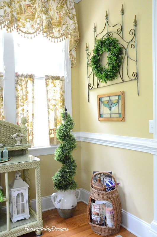 Sunroom-Iron Gate-Topiary-French Basket-Housepitality Designs