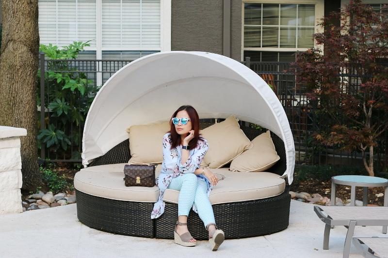 pool-lounge-chair-lv-bag-kimono-gingham-pants-2