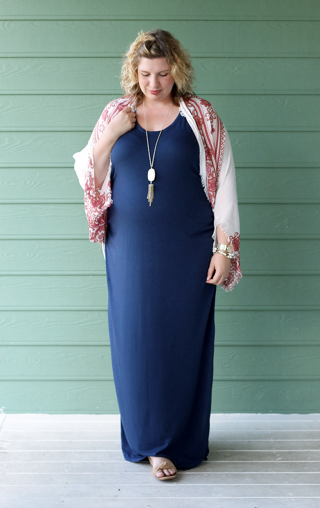 maternity blue maxi dress, white red kimono 3