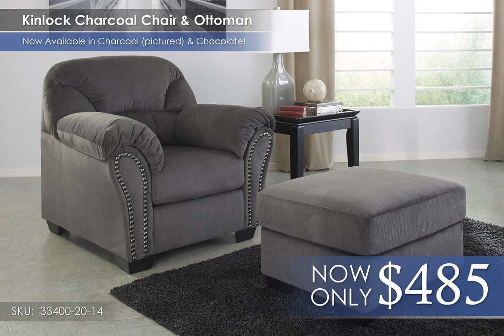 Kinlock Charcoal Chair and Ottoman 33400-20-14