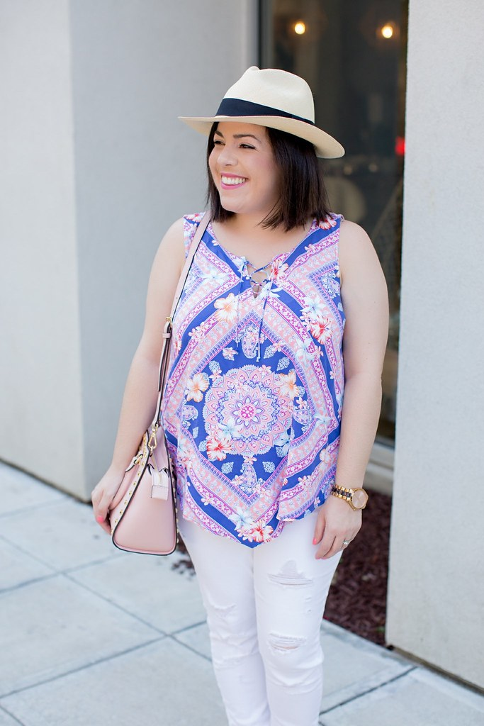 Lace-Up Floral Top-@headtotoechic-Head to Toe Chic