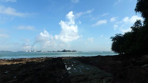 Emissions over Pulau Bukom from Pulau Jong