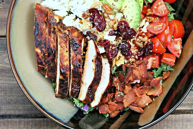 BLT Balsamic Chicken Avocado Feta Salad Top Close