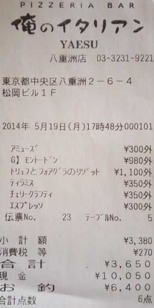 俺のイタリアン 八重洲店 2014