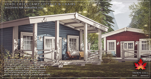 Trompe loeil verdi creek camp cottage and chairs for fam for Cottages at camp creek